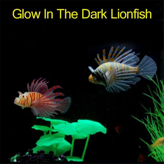 1PC Glow In Dark Artificial Aquarium Lionfish Ornament Fish  2