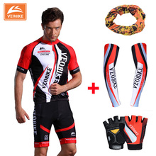 VEOBIKE 2017 Pro Cycling Jersey Set Breathable Mountain Bike Clothes Quick Dry Bicycle Sportswear with Gloves & cuff & Scaff