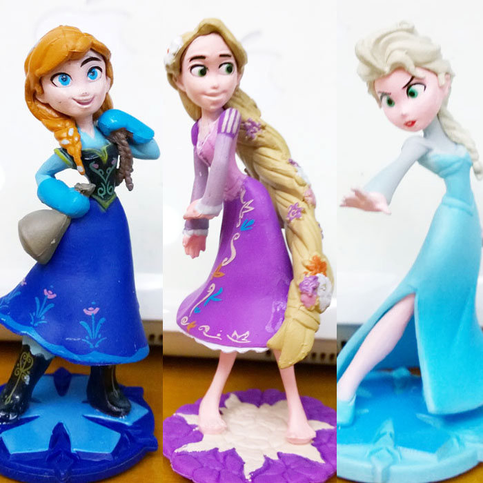 New anime princess elsa anna tangled rapunzel pvc figure dolls collection model in dolls from - Princesse anna et elsa ...
