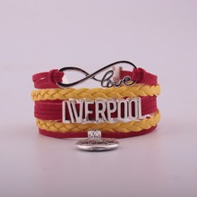 2019 Drop Shipping Infinityl Soccer Leather Bracelet- England Sports Cheering football Team Friendship Gift
