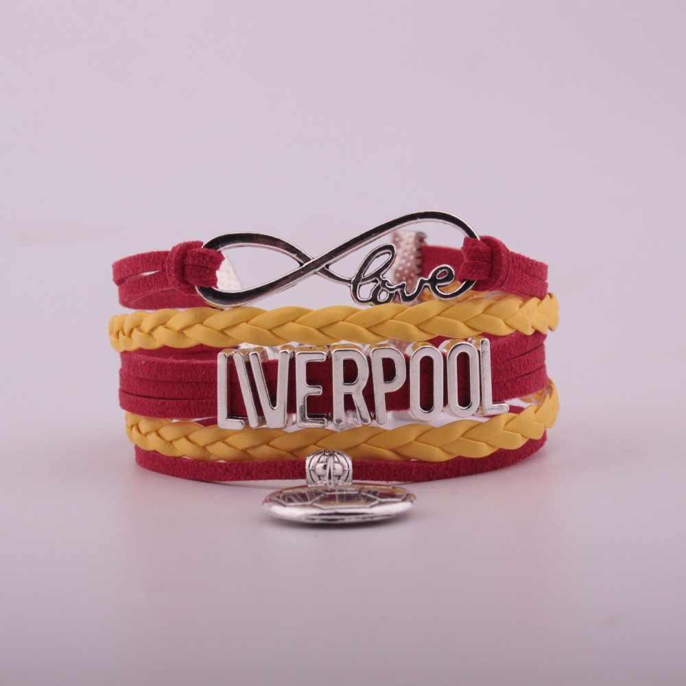 2019 Envío Directo Infinityl pulsera de cuero de fútbol-regalo de la amistad del equipo de fútbol Deportivo de Inglaterra