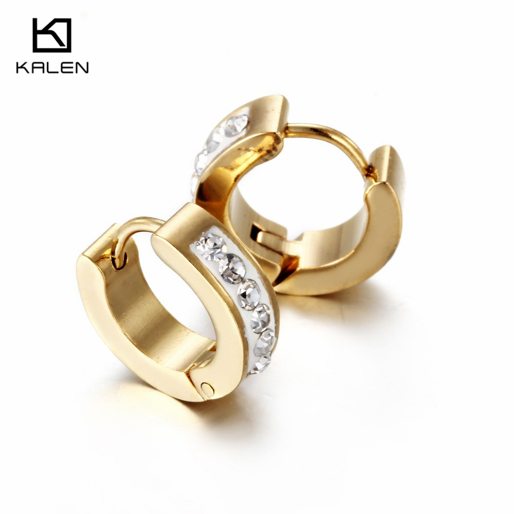 2016 Kalen Promotion Jewelry Cheap Stainless Steel Zircon Rhinestone Dubai Gold Plated Clip font b Earrings