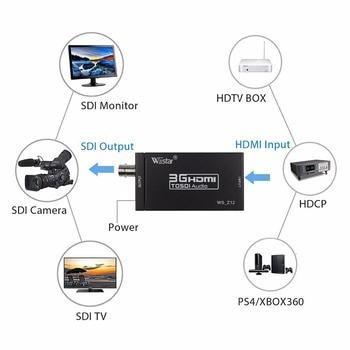 Wiistar Mini 3G 1080P HDMI to SDI Converter SD/HD/3G-SDI HDMI to SDI Adapter Video Converter with Power Adapter HDMI2SDI