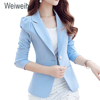 Women Jacket Blazer 2019 Sky Blue Slim Fit Long Sleeve Single Button Coat Slim Office Lady Jacket Female Tops Blazer Feminino