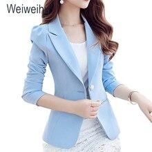 Для женщин Куртка Блейзер 2019 Небесно голубой Slim Fit с длинным рукавом одной кнопки пальто тонкий женский офисный жакет Женский топы корректирующие
