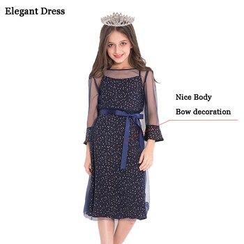 0790461a7517c Zarif Kız için Elbise Genç Giyim Kızlar Prenses Parti Elbise 10 11 12 13 14  yıl Çocuklar Elbiseler Kız elbise