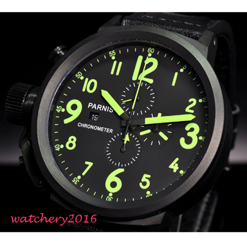 50mm Parnis Big Face black dial PVD Coated Green Marks Complete Calendar Crystal chronograph Quartz Movement