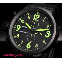 50mm Parnis Big Face black dial PVD Coated Green Marks Complete Calendar Crystal chronograph Quartz Movement Mens Wristwatches