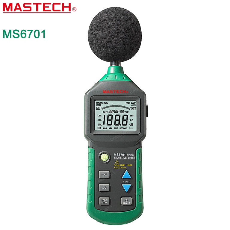 MASTECH MS6701 Autoranging Digital Sound Level Meter Decibel Tester Noise Meter with RS232 Interface and Software,30dB to 130dB gm1357 with carry box 30 130db digital sound level meter noise tester in decibels lcd a c fast slow db screen