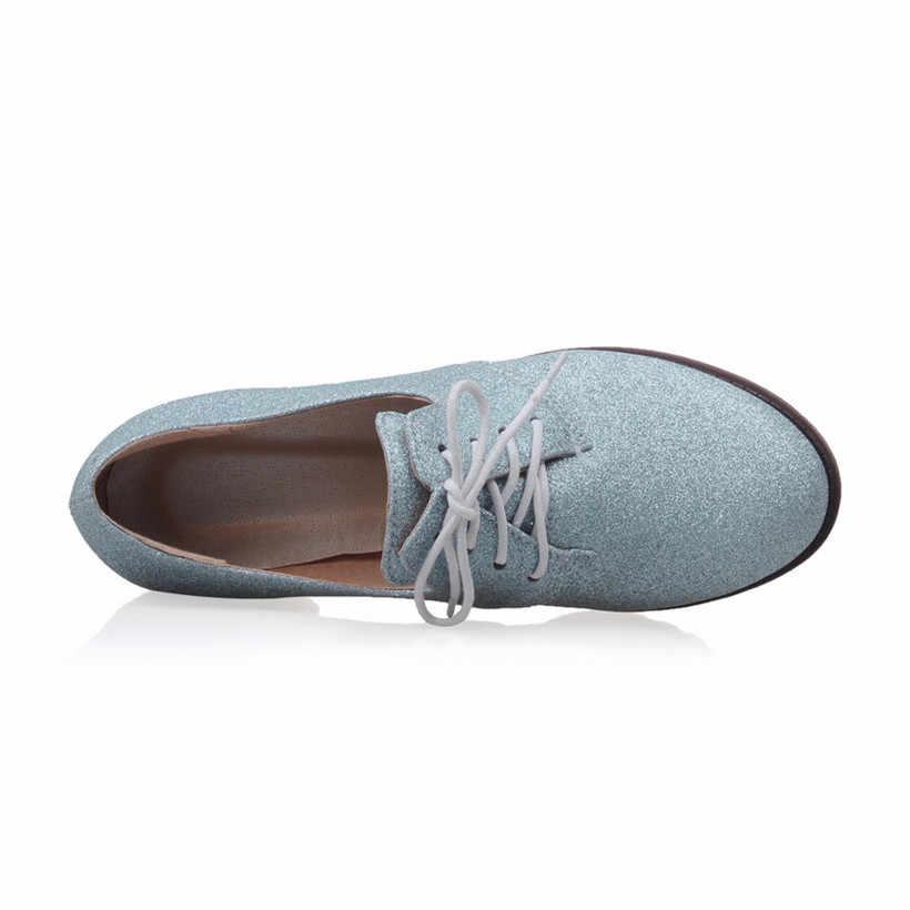 בריטי תחרה עד נשים משאבות נצנצים נצנצים בד עגול הבוהן Derbies 6cm גבוהה בלוק העקב נעליים מזדמנים נעליים בלינג אוקספורד גברת נעליים