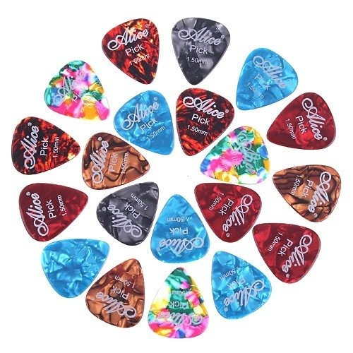 Music-S Alice 20x 1.5mm Smooth Colorful Celluloid Guitar Picks Plectrum