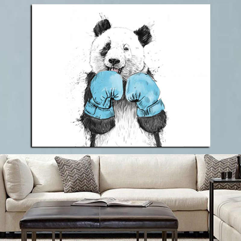 2018 Cute Cartoon Animal Minimalist Panda Boxer Oil Painting on Canvas for Kids Rooms for Living Room Poster Cuadros Decoration