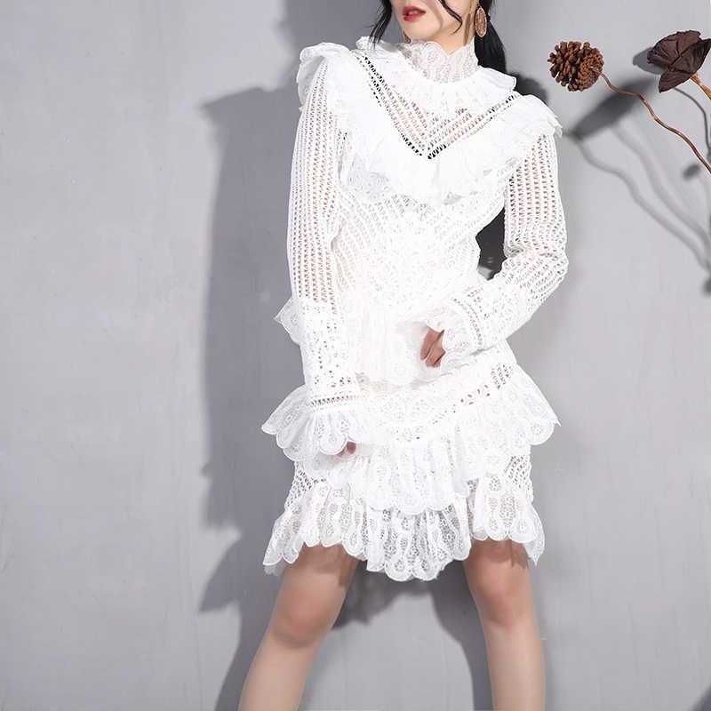LANMREM 2019 весенний пуловер кружевной воротник стойка стежка выдалбливают плиссированные стежки женское платье Модная одежда с длинными рукавами JI781