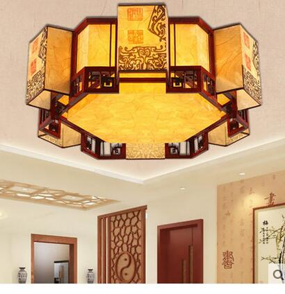US $311.6 5% OFF|Chinese Style Retro Style Ceiling Light Modern Living Room  Polygon Classic Creative Molding Lamp Bedroom Chandelier ZCL-in Pendant ...