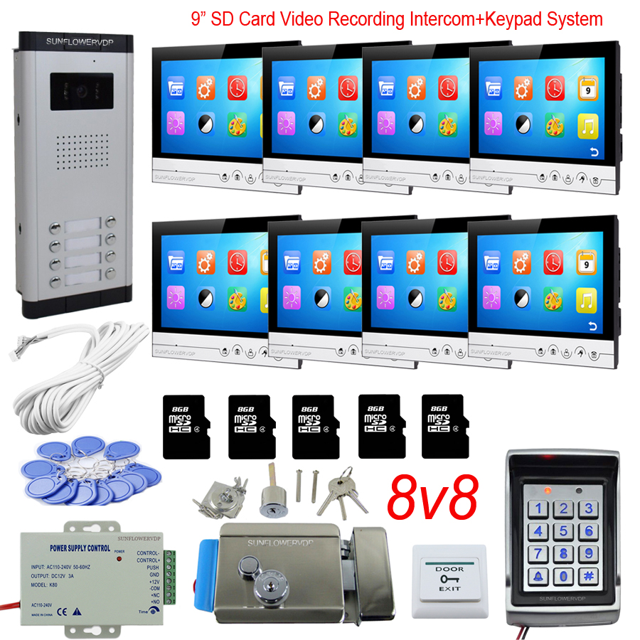 Access Control Keyboard System 8 Apartments Intercom For Home With Lock 9