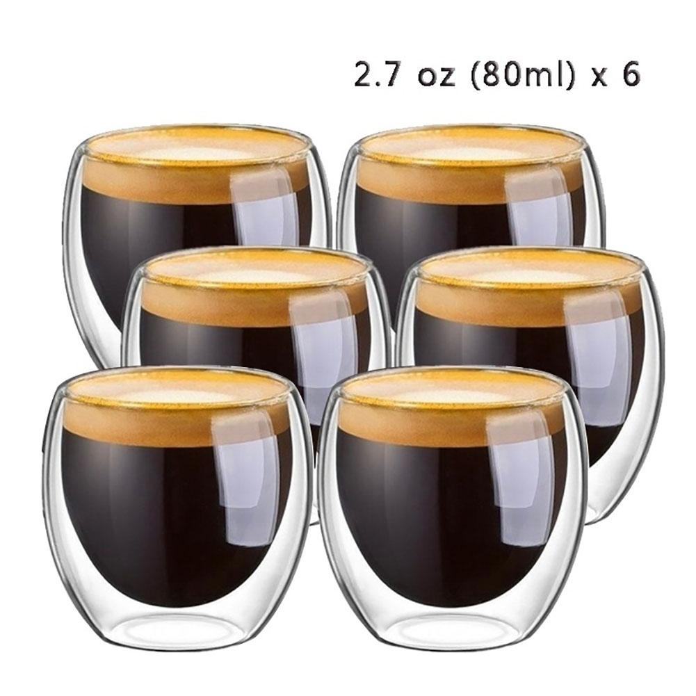 6Pcs Multi-use 80ml 2.7oz Glass Double Walled Heat Insulated Tumbler Espresso Tea Cup With Double Wall Design