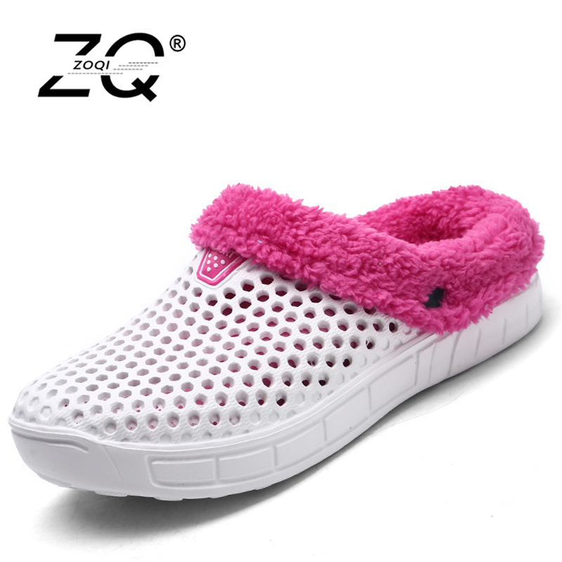 ZOQI Unisex Winter Shoes Women Clogs Mesh Fur Moccasins Flats Loafers Zapatos Mujer Sapato Masculino 2017 Size 36-45