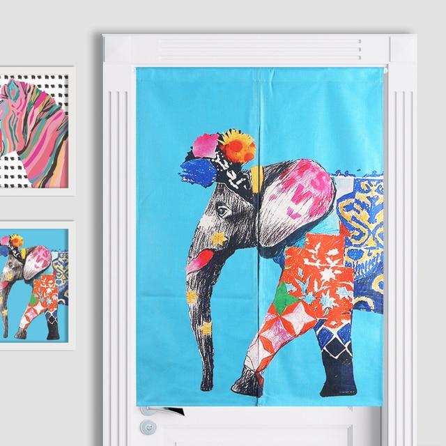 Thai Colorful Cartoon Animal Elephant Zebra Door Curtain Linen Tapestry Study Bedroom Home Decor Bedroom Kitchen  sc 1 st  AliExpress.com & Thai Colorful Cartoon Animal Elephant Zebra Door Curtain Linen ...