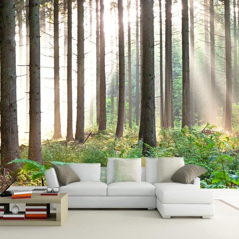 Living Room 3d Wallpaper 3d wallpaper nature trees forest living room wallpaper papel de