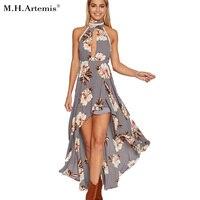 M H Artemis Halter Floral Irregular Long Dress Summer Dress 2017 Summer Chic Backless Evening Party
