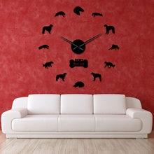 Borzoi – horloge murale moderne avec numéros miroir, sans cadre, grande montre murale russe, cadeau, à faire soi-même