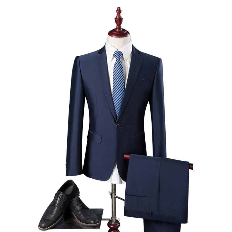 2017 New Seasons High Quality Men's Business Casual Suit Korean Slim Suit Groom Wedding Dress Suit Size M-4xl (jacket+pants)