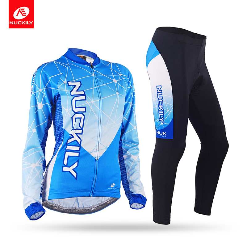 Nuckily Spring/Autumn women Breathable Cycling Jersey Set Bicycle long sleeves bike Jersey suit GC005GD005 basecamp cycling jersey long sleeves sets spring bike wear breathable bicycle clothing riding outdoor sports sponge 3d padded