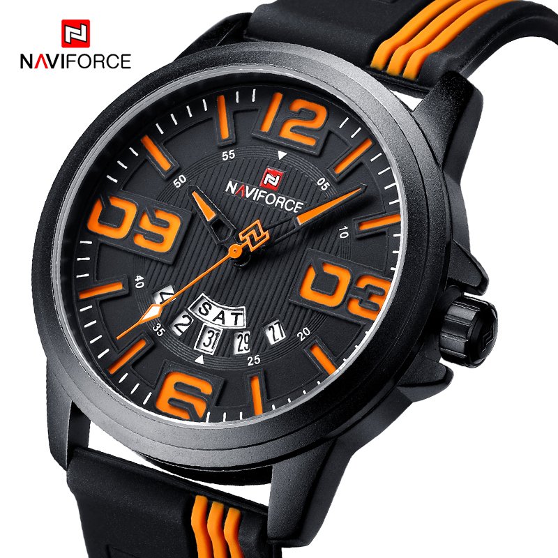 NAVIFORCE Brand Wristwatches Men Fashion Casual Military Sport Quartz Watch Men's 3D Face Waterproof Man Clock Relogio Masculino 2017 new top fashion time limited relogio masculino mans watches sale sport watch blacl waterproof case quartz man wristwatches