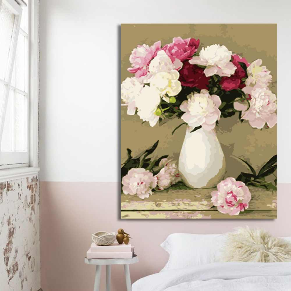WEEN Pink Peony-DIY oil paint by numbers for kid, Hand-painted painting by numbers kit on canvas drawing, Acrylic Paint 40X50cm