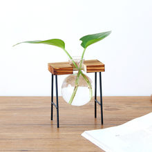 Creative Hydroponic Plant Transparent Vase Wooden Frame Coffee Shop Room Decor Home Deor Home Decoration Furniture(China)