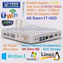 Embedded Wifi 4G DDR3 1TB HDD Intel Core i3 4010U 4 Threads compact PC DHL Free Shipping ultra Mini PC Desktop Computer Thin PC(China (Mainland))