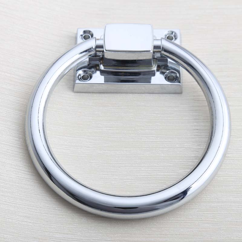 Shiny Silver Wooden Chair Pull Knob Chrome Drop Rings