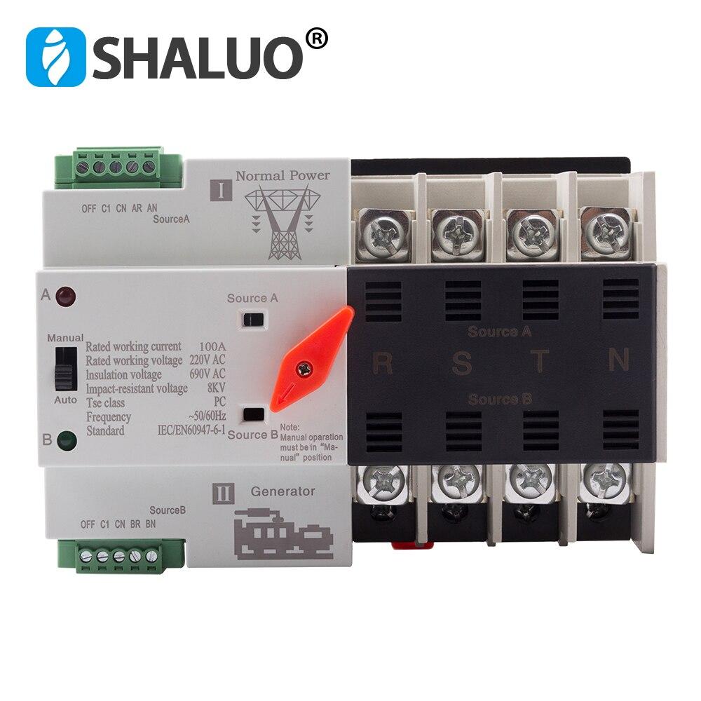 Mini W2R 4 P 100A ATS 220 V interrupteur de transfert automatique de puissance interrupteurs de sélection électriques pièces de générateur de disjoncteurs