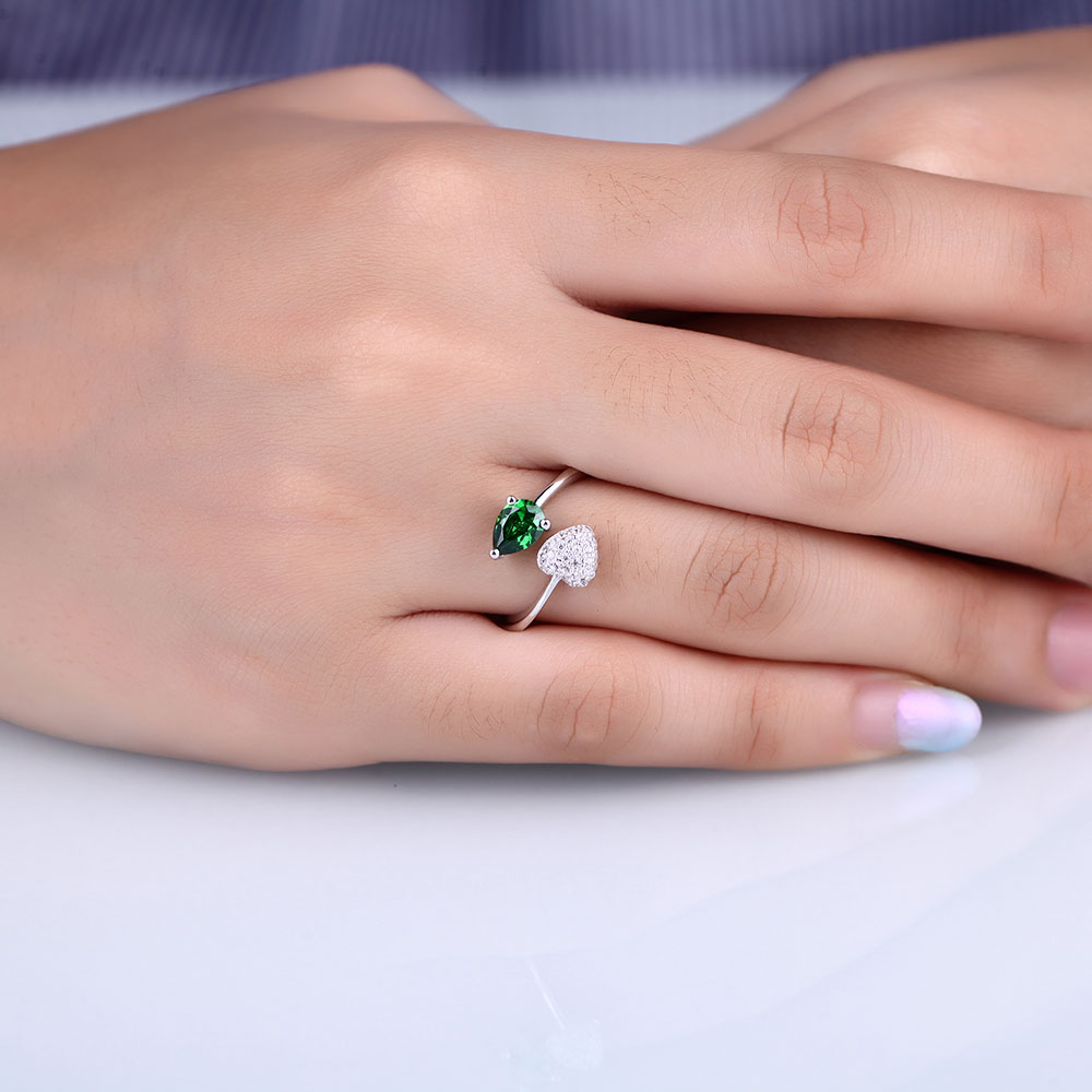 DOUBLE R Classic Created Green Emerald Ring fine Wedding Jewelry 925 ...