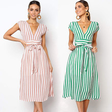 aa62773fdf581 Fashionable Female Spring Best Sale 2019 Women Casual Stripe Printing Off  Shoulder Sleeveless Dress Princess Dress