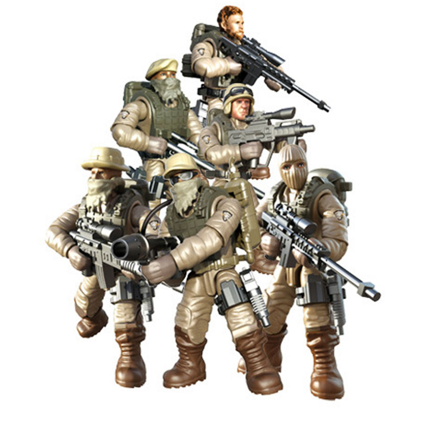 Mini Soldier Set  Desert Combat Forces Figurines With Building Blocks Gun Army Compatible All Major Brands Toys Gift For Kids