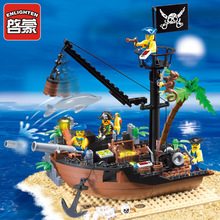 Fun children building blocks toy compatible Legoes pirate ship broken dock model intelligence education building block toy