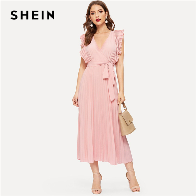16e7b74f1a SHEIN Pink Retro Pleated Panel Ruffle Armhole Wrap Belted Sleeveless Dress  Women Summer Fit and Flare