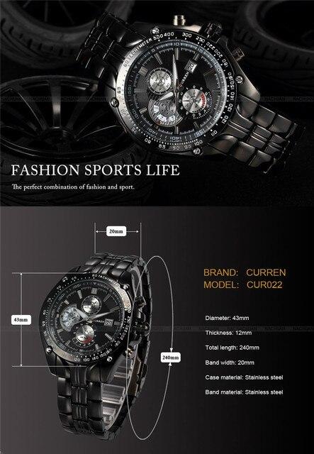 relogio masculino 2018 Hot CURREN Brand Full Steel Sport Watch Men Luxury Brand Quartz Military Sport Watches Men's Wristwatch