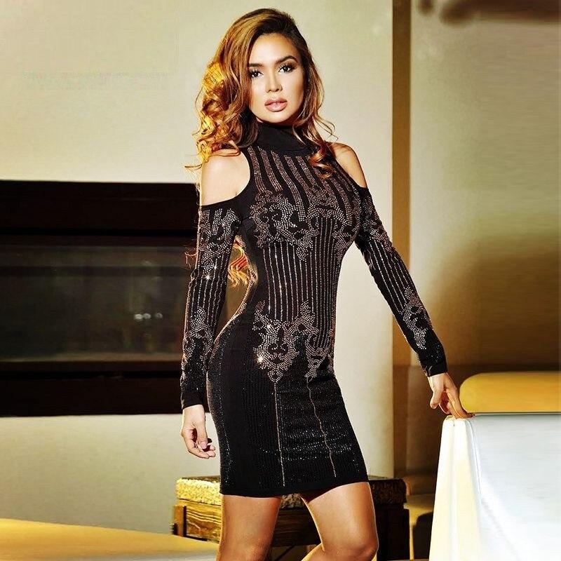 Bandage jurk zwart goud