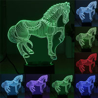 3D LED Night Light Zebra Horse USB 7 Color Change Touch Switch Desk Table Lamp Nightlight