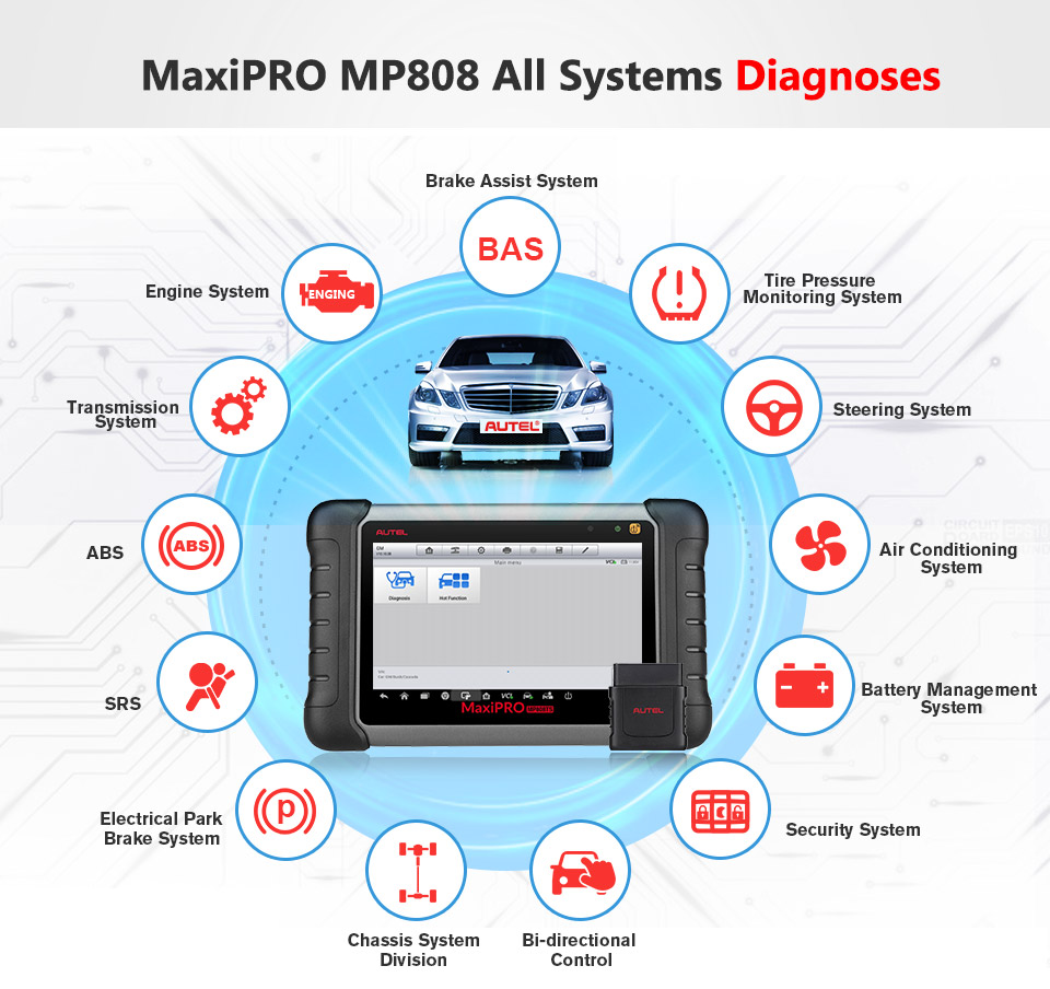 Image 2 - Autel MaxiPRO MP808 DS808 OBD2 Automotive Scanner OBDII Diagnostics Tool Code Reader Scan Tool Key Coding as Autel MaxiSys MS906-in Multimeters & Analyzers from Automobiles & Motorcycles