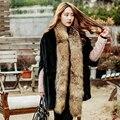 Бренд Besty Женщин Реального 100% Подлинная Енотовидная Собака Меха Длинный шарф Меховой Шарф элегантные новые поступления мода твердые натурального меха шарфы