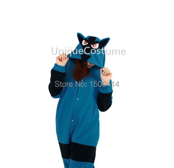 Adults Polar Fleece Kigurumi Anime Onesies Costume Pokemon Lucario Men 39 s Pajamas Halloween Christmas Party Cosplay Costumes in Anime Costumes from Novelty amp Special Use