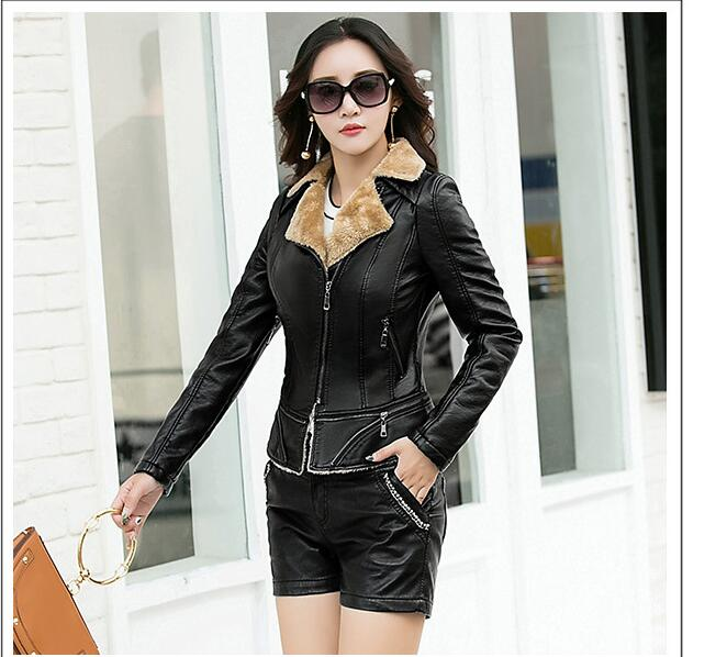 2018 The New Large Size Wild   Leather   Ladies Short Section Motorcycle   Leather   Jacket Autumn And Winter Coat One Coat AB05