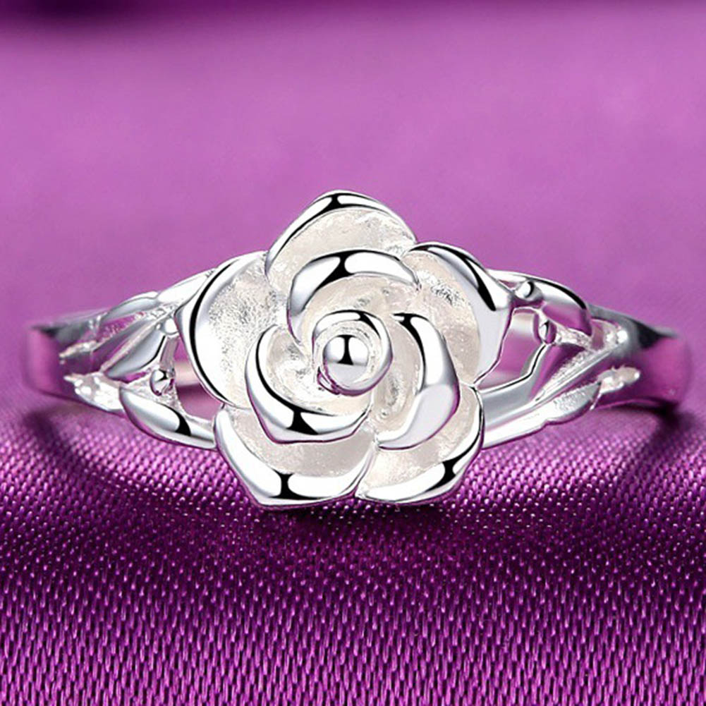 Fashion Silver Plated Rings Rose Flower Open Ring Hollow Out Design Finger Ring Jewelry ...
