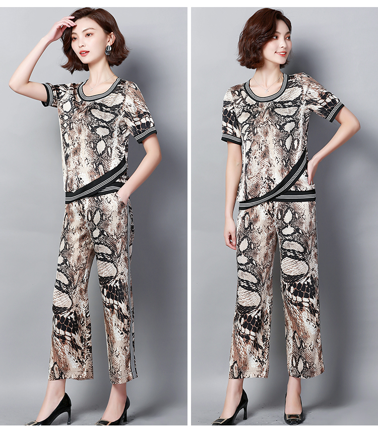 Plus Size Summer Snake Printed Two Piece Sets Women Short Sleeve Tops And Wide Leg Pants Suits Casual Elegant Korean Womens Set 52