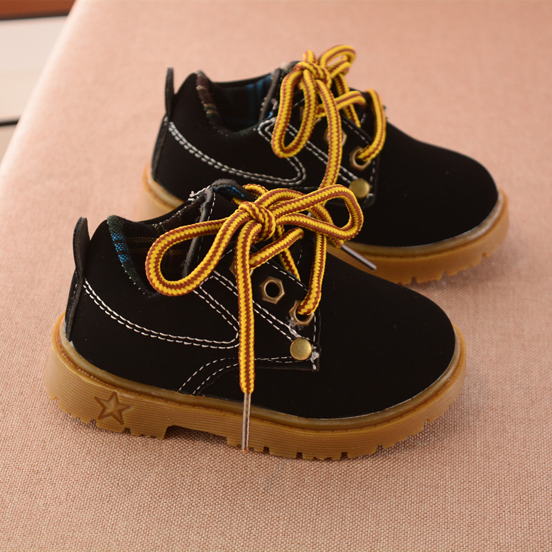2017 spring and autumn yellow kids boots shoes soft bottom leisure sports girls boots black boys shoes shoes fashion boots