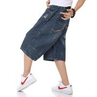 Plus size 40 42 44 46 Mens Calf Length Pants Casual blue black Denim Shorts Men Jeans Summer Jean hip hop Mens Shorts men short