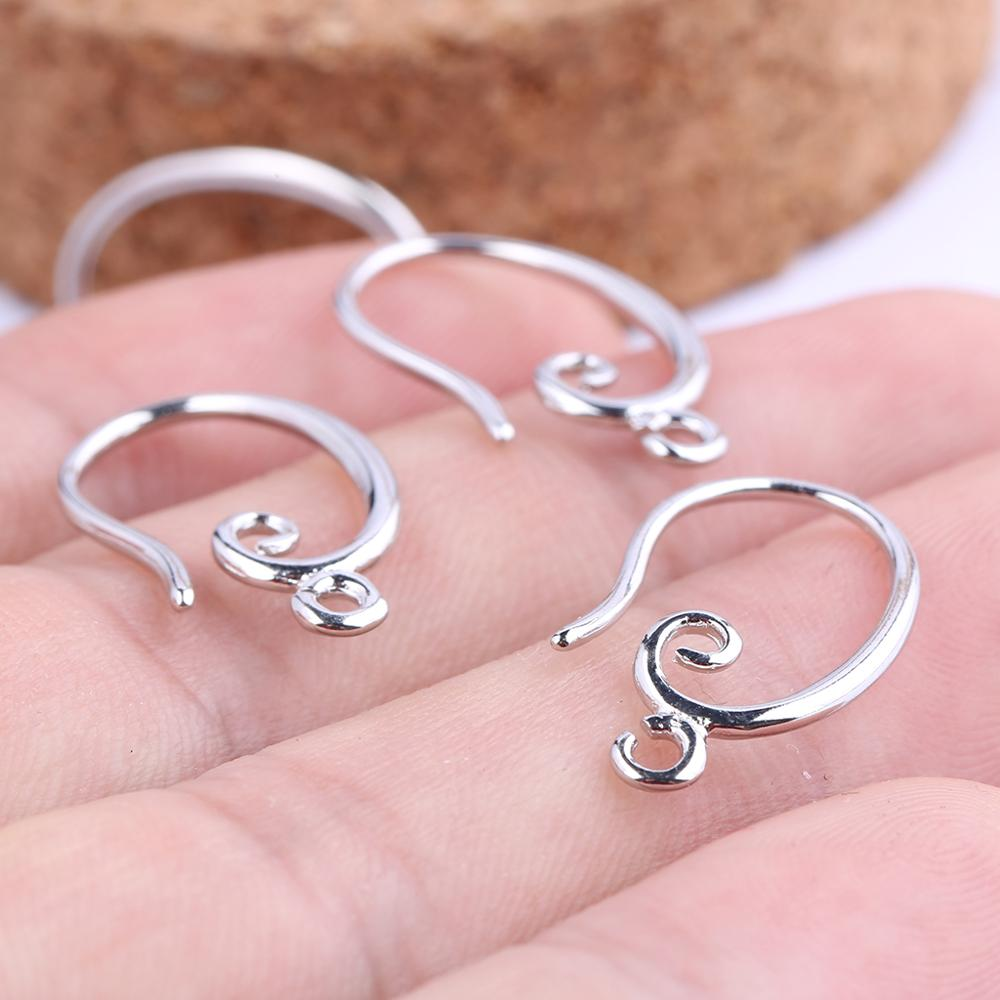 Onwear 20pcs White Gold Plated Copper Earring Clasps Hooks Diy Ear Wire Connectors For Jewelry Making